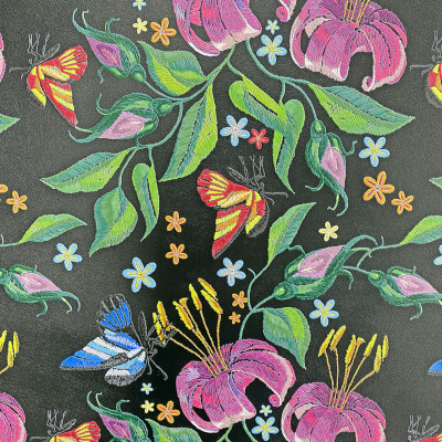 Thick digital printing panel with embroidery effect