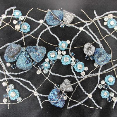 Drusy star embroidery