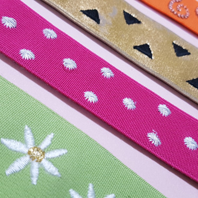 Embroidery on elastic
