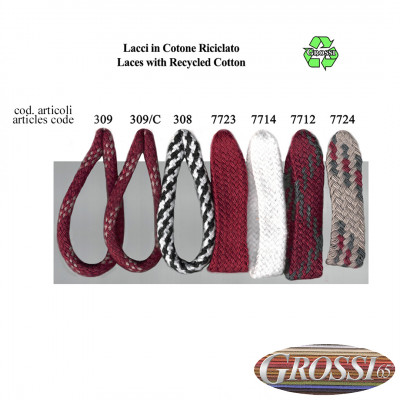 Laces with recycled cotton