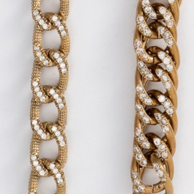 BRASS CHAIN WITH CUBIC ZIRCONIA